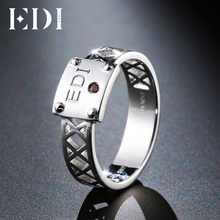 EDI Solitaire Natural Garnet Gemstone 100% 925 Sterling Silver DIY Name Rings Bands Customized Fine Jewelry(China)