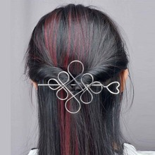 Fashion Chinese knot Hair Stick Gold Silver Plated Hollow Hear Hairpins Clips Women Hair Accessories