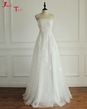 Buy Jark Tozr 2018 New Listing Strapless Lace White Tulle Bridal Gowns Robe De Mariee Appliques Sheath Wedding Gowns Plus Size for $138.36 in AliExpress store