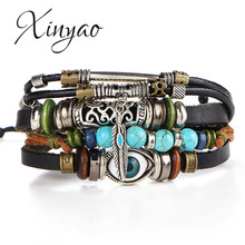 2017 New Handmade Adjustable Multilayer Wide Genuine Leather Cuff Bracelet Men Bohemian Vintage Feather Evil Eye Charm Bracelets(China)