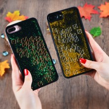 Lovers Couple Mobile Phone Case Glitter Shining Liquid Quicksand Dynamic with Small Square Phone Back Cover for iPhone 7/8 Plus(China)