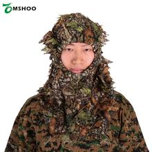 Camouflage Leafy Hunting Ghillie Suits Hood Green Leafy Head Net Eyehole Opening and Leaf Pattern Hunting Accessories(China)