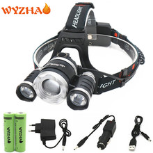 Head lamp 13000 lumens LED NEW ZOOM T6+2R5 headlamp floodlight Head light headlight torch+18650 battery+Car charger+USB+Charger