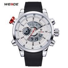 WEIDE Men Sports Watches Top Quality Digital Quartz Multifunctional Waterproof Military Watch PU Band Mens Dress Wristwatches(China)