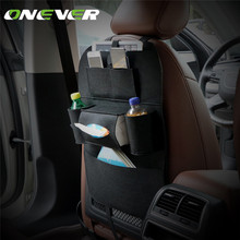 Onever Multi-pocket Car Seat Organizer Travel Storage Bag Auto Seat Car Back Organizer with Tissue Box Drinks Holder Bag(China)