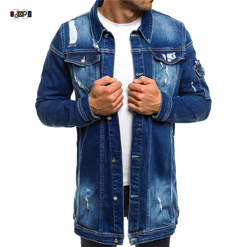 Idopy 2018 Fashion Mens Long Denim Jackets Coats Ripped Distressed Slim fit Jeans Jackets Casual Jean Jacket Coat for Male