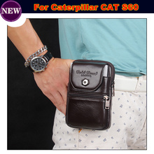 Cell Phone Case / Genuine Leather zipper pouch Belt Clip Waist Purse Case Cover for Caterpillar CAT S60 Phone Bag Free Shipping(China)