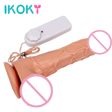 Buy IKOKY Multi-Speed Rotating Vibrating Dildo S/M/L Size Realistic Penis Vibrator Strong Suction Cup Sex Toys Women