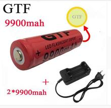 2pcs/set 18650 battery 3.7V 9900mAh rechargeable liion battery with charger for Led flashlight batery litio battery+1pcs Charger