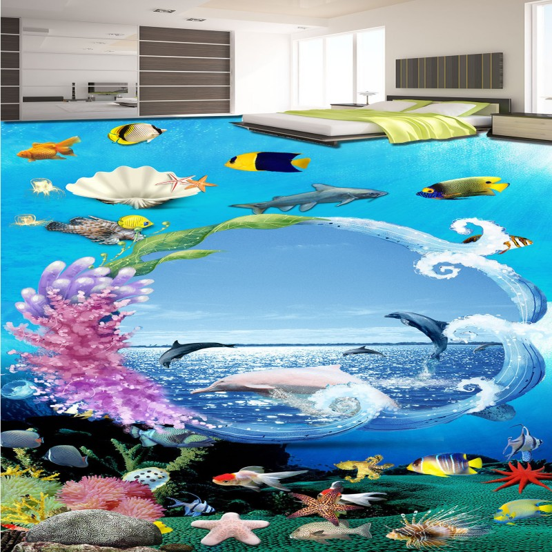 Free Shipping Creative wreath underwater world dolphin living room hotel 3d floor wallpaper mural<br>