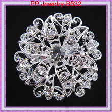 Cheap Wholesale Brooch/Silver Tone Clear Crystal Flower Small Brooch For Wedding Invitation/Cake Decoration