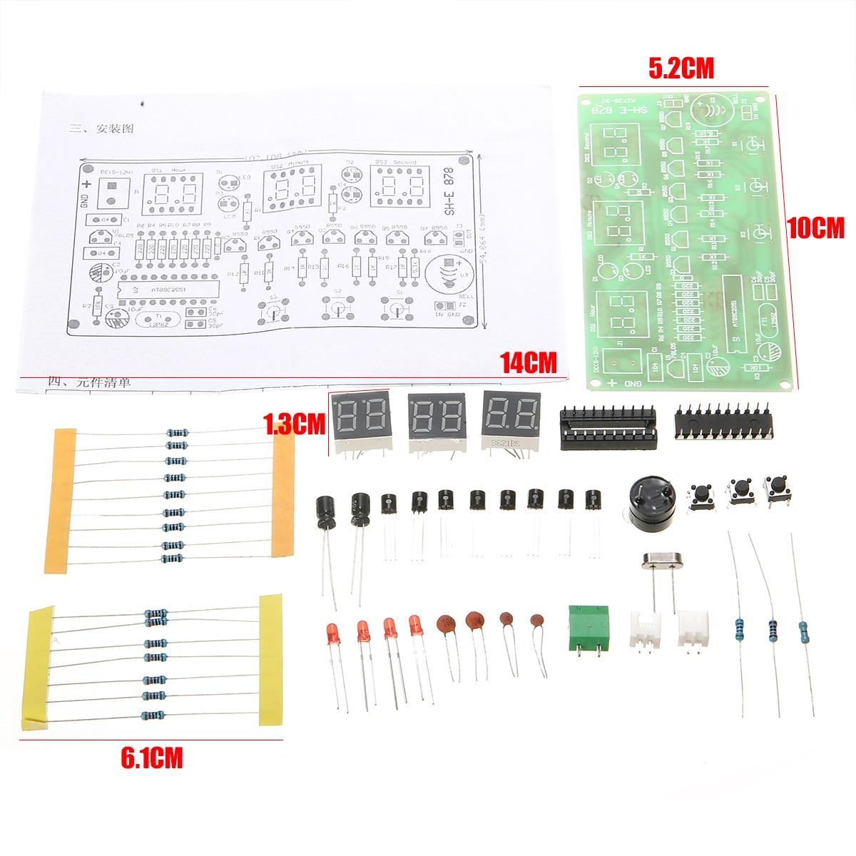 LED Electronic Clock Kit 5-12V 6 Digit LED Digital Electronics Clock Counter AT89C2051 DIY Kit Counter Alarm Timer 10cm*5.2cm