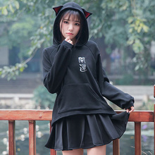 Japanese Autumn Mori Girl Lucky Cat Hoodies Women's Loose Velvet Letters Embroidery Female Vestido Pullover Hooded Hoodies V079