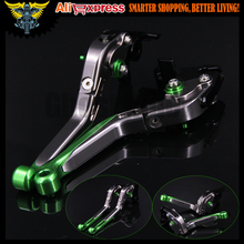 Green+Titanium CNC Adjustable Folding Motorcycle Brake Clutch Levers For Kawasaki ZX6R / ZX636R / ZX6RR 2000 2001 2002 2003 2004