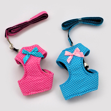 Hot Collar For Dogs Bows Dots Blue Pink Brand Desinger Pet Harness With Leash Set Supplies For Bulldogs Chihuahua Puppy