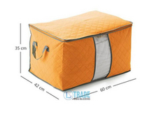 Free Shipping Large Bamboo Storage Bag For Clothing Quilt Blanket Storage box Organizer Orange Green Blue 2piece\Lot