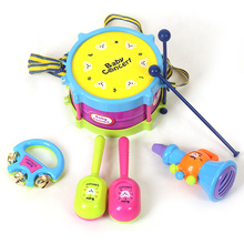 5 pieces/set Hot Baby Toys Hand Drum Beat Rattles Educational Kids Toys Children Rattle for Newborn Baby Gift Wholesale