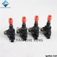 4PCS Ignition Coil For Honda FIT 2005 2006 2007 2008 FIT SALOON 2005-2006 CITY 2007-2008 OEM:30520-PWC-003 For 1.5L Cars