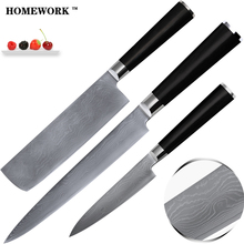 Damascus knives 8 inch slicing 7 inch chopper 5 inch big utility knives made of 9Cr18Mov Damascus steel kitchen knives 3 pcs set(China)