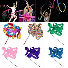 Hot Sale 4M Gymnastic Ribbon Rod Gym Rhythmic Art Dance Twirling Ballet Streamer Stick Baton Fitness Bands Multicolour