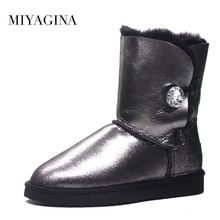 MIYAGINA High Quality! genuine Sheepskin Real Fur 100% Wool women winter snow boots, China Brand boots Free Shipping