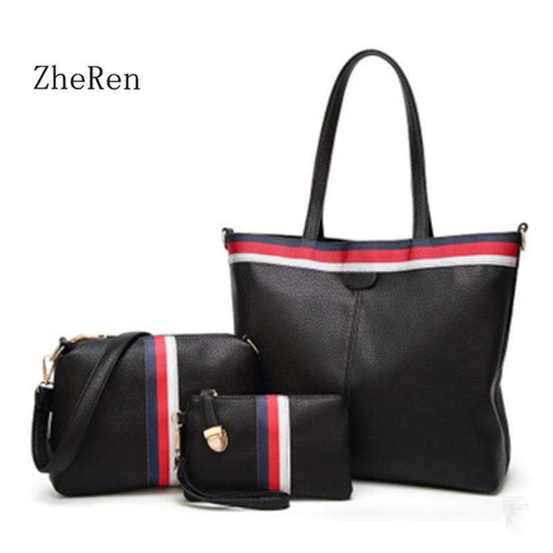 women bag 2017 new handbag fashion color ribbon  three piece suit bag ladies casual Handbag Shoulder Bag<br>