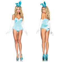 Easter Bunny Girl Costume Dazzling Shiny Blue Rabbit Bodysuit with Bunny Ears Adult Sexy Costume Halloween Fancy Dress for Women