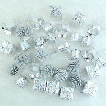 32 pcs/Pack Christmas Ornament silver Mini Gift Box Stars Ball Pinecone Baubles Christmas Tree Pendant Xmas Decorations(China)