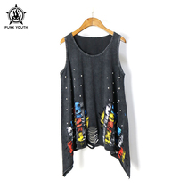 Punk youth Brand 2017 Summer Women's T Shirt Vintage Tassel Open Tank Pop Rivet Punk Singlet Long T-Shirts Sexy Lady