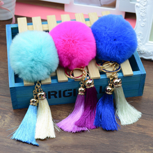 Lovely Imitation Rabbit Tassel Fur Ball Plush key chain 12 Colors Ball Bag Car Ornaments Metal keychain Free shipping