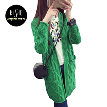 BiSHE Women Sweater Long Cardigan Fashion Autumn Style Green Red Long Sleeve Knitted Cardigan Female Sweaters Plus Size Coat(China)