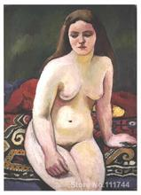 Canvas art on sale Female nude at a knited carpet August Macke Handmade oil painting High quality