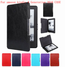 Magnet clasp Flip leather case cover for new kindle 2016 8th generation fundas for amazon kindle 8 Generation 2016 case