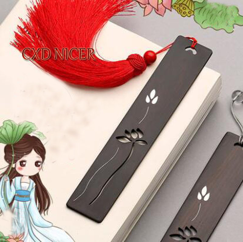 Inlaid Silver Mahogany Bookmark Classical Chinese Style Creative Ebony Wood Book mark  School Supplies DD1977<br>