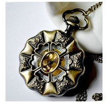 Vintage Bronze Tone Gold Face Flower Big Size pocket watches with chain Free shipping B333 Necklace Pendant