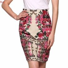 OL Bodycon Skirt Summer American Apparel Pencil Women Skirts Ladies Print Keys Floral High Waist Slim Fit Vintage Skirt YC000814