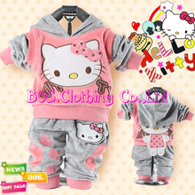 [Bosudhsou] Hot Sell Autumn Baby Set Girl's Hello Kitty Children Clothing Sets Boy's Velvet Sport Suits Hoody jackets/coat+Pants