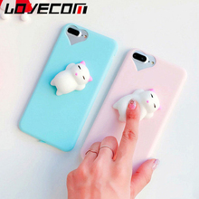 LOVECOM New DIY Kneading Animal 3D Silicone Cat Squishy Toy For iPhone 5 5S SE 6 6S 7 8 Plus Decompression Soft TPU Phone Cases