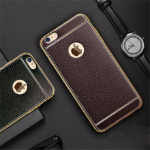 Newest Luxury Crystal Plating TPU Leather Pattern Soft Mobile Phone Cases For Apple iPhone 5S 5 SE 6 6S 7 / Plus Cover Case Capa(China)