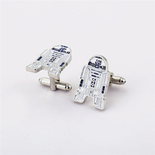 High Quality Men Jewelry Star Wars R2D2 Cufflinks For Men's Shirt Alloy Cuff Links Buttons Father's Day Gift Dropshipping