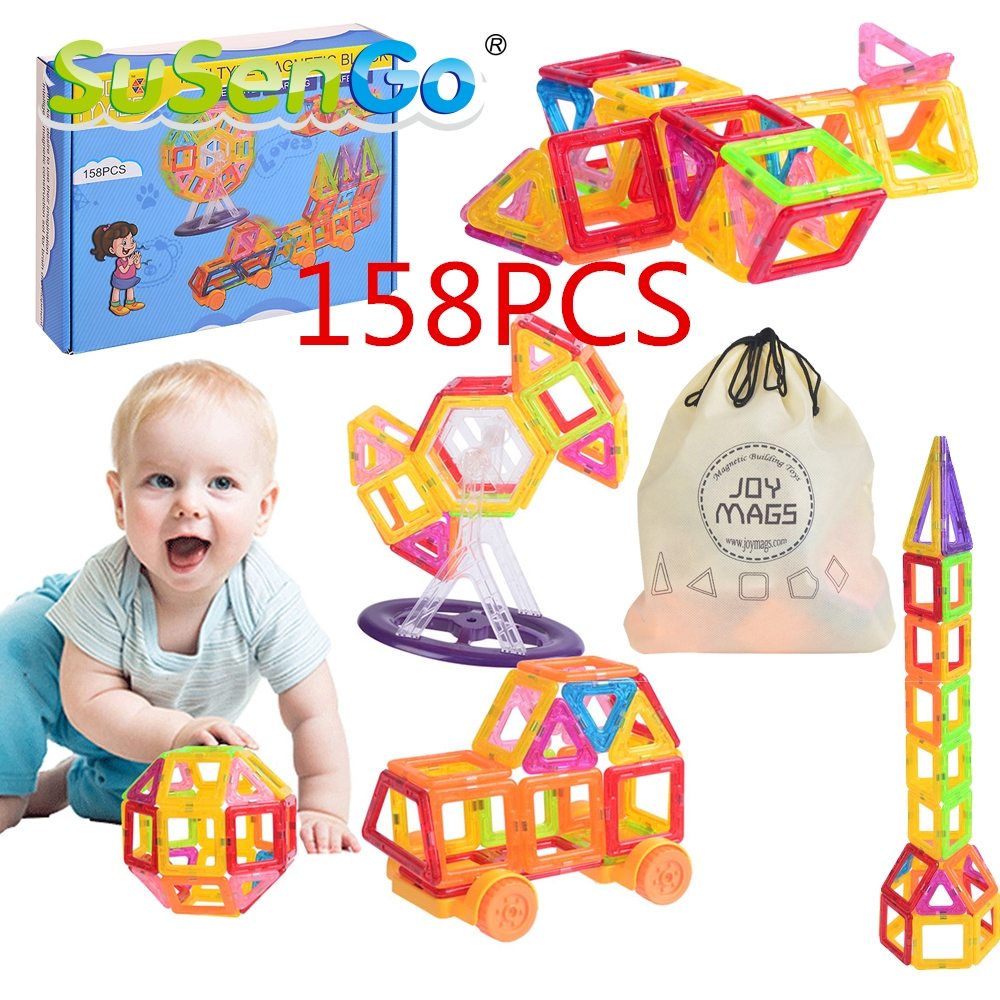 SuSenGo Magnetic Designer Mini Building Blocks 158 Pieces Kits Construction Toy Kids Educational Toys Plastic Creative Bricks<br>