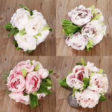5 Heads Artificial Flowers Peony Bouquet Home Room Wedding Party Decoration