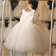 Retail Appliques Flower Girl Dresses With Big Bow For Girls Elegant Angel Children First Communion Dress Party Gown L-116