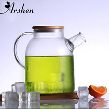 Arshen 1000ml/1800ml Glass Kettle Water Jug Heat Resistant Flower Teapot With Bamboo Lid Stainless Steel Filter Juice Container(China)