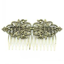 DoreenBeads Retail Hair Clips Comb Shape Flower Antique Bronze 9.8x5.2cm,2PCs