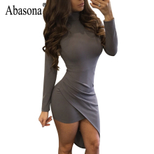 Nice Design Asymmetrical Mini Dress Women Full Sleeve Pleated Solid Sexy Elegant Dresses O neck Casual Slim Bandage Dress