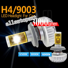 Hi-Lo Beam H4 LED Headlight 3s XML2 Chips 60W 6000LM Car Auto Front Fog Light Bulb Headlamp 6000K DRL Driving Headlights(China)