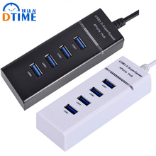DTIME High Speed USB 3.0 HUB Hab Smart 4 Ports tablet Cable Micro Multi LED 5Gbps For Computer Laptop PC Notebook White Black