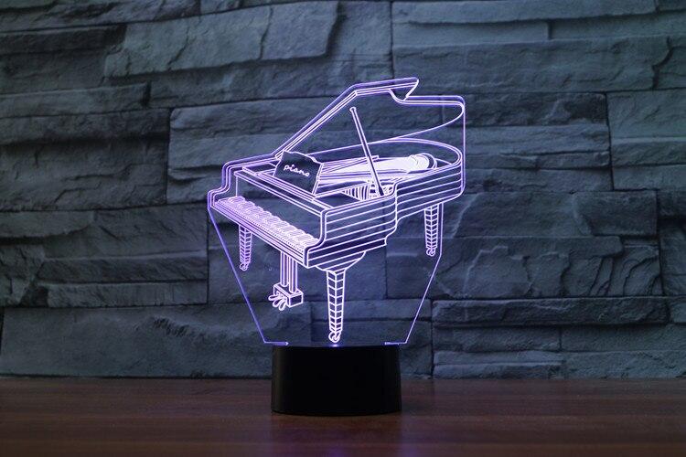 Music Instrument Retro Piano 3D USB LED Lamp 7 Colors Bulb Musician Gift Child Bedroom Decoration Elegant Night Lights RGB Lava