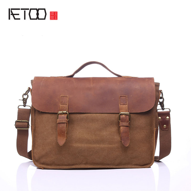 AETOO European and American vintage retro bags portable briefcase computer shoulder diagonal bag with leather bag M<br>